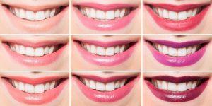 hvide tænder med læbestift