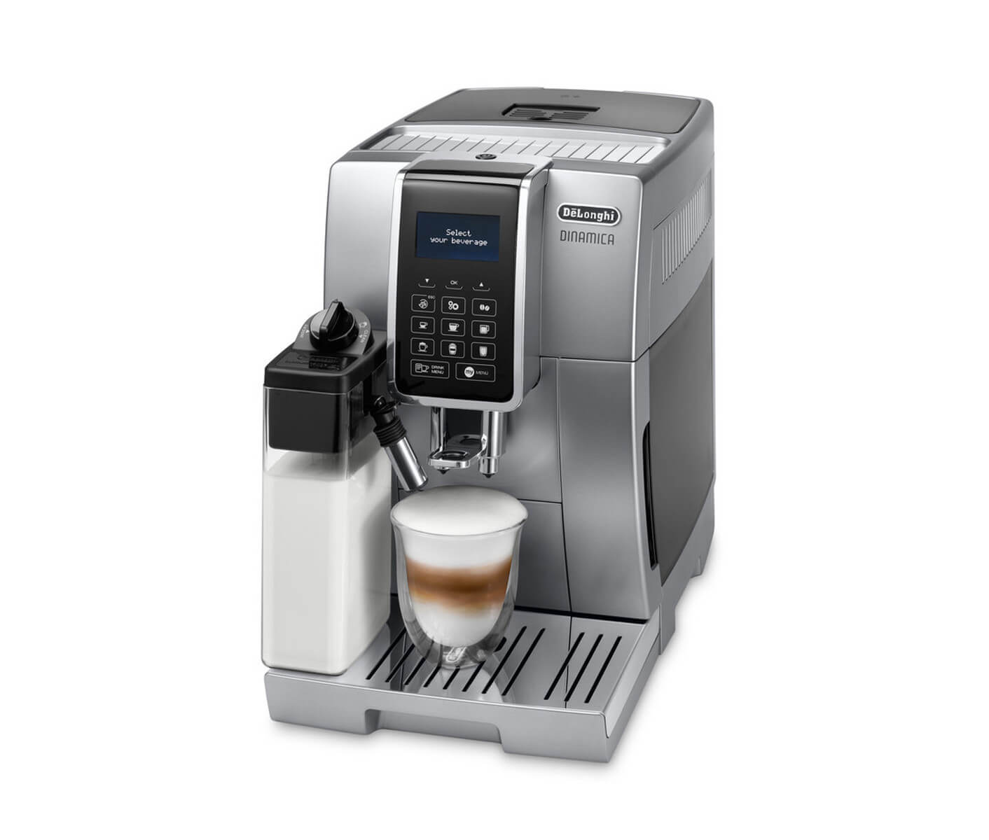 kaffebryggare med kvarn och mjölkskummare