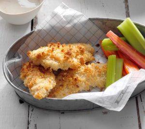 Kyllingestrimler med bagelkrummer og parmesan