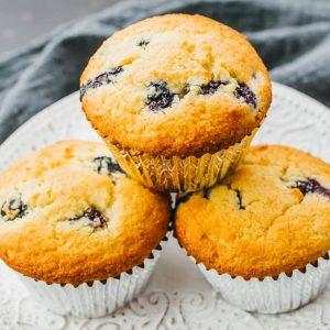Blåbær-muffins med mandler